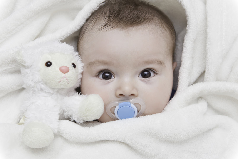A baby with a soother and a stuffed animal