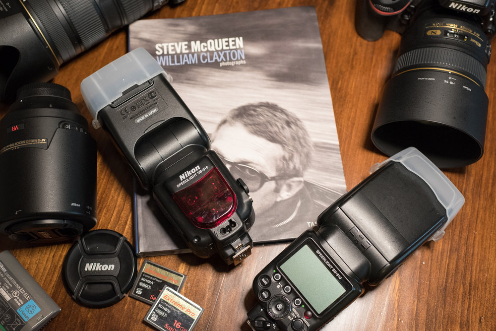 Two Nikon Speedlight SB-910 flashes with diffusers.