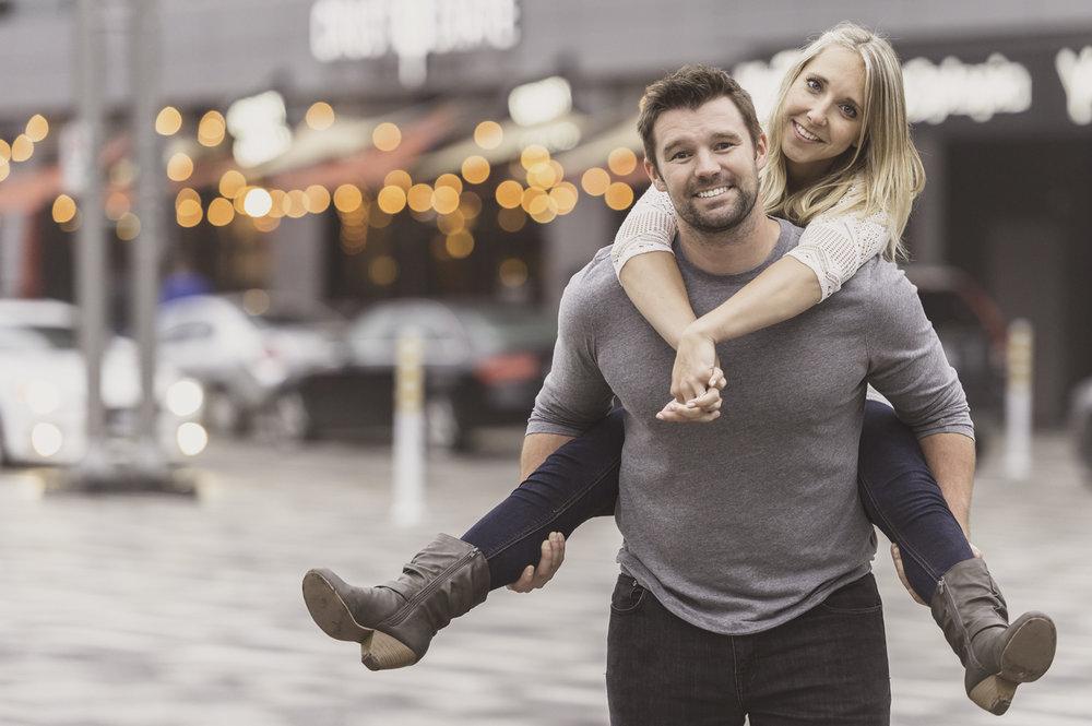 Laura and Allan piggybacking in Ottawa, Ontario.