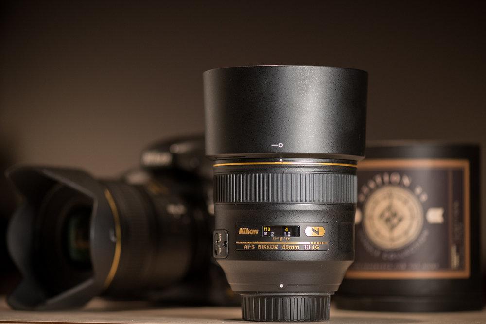 Nikon 85mm F/1.4 G camera lens.