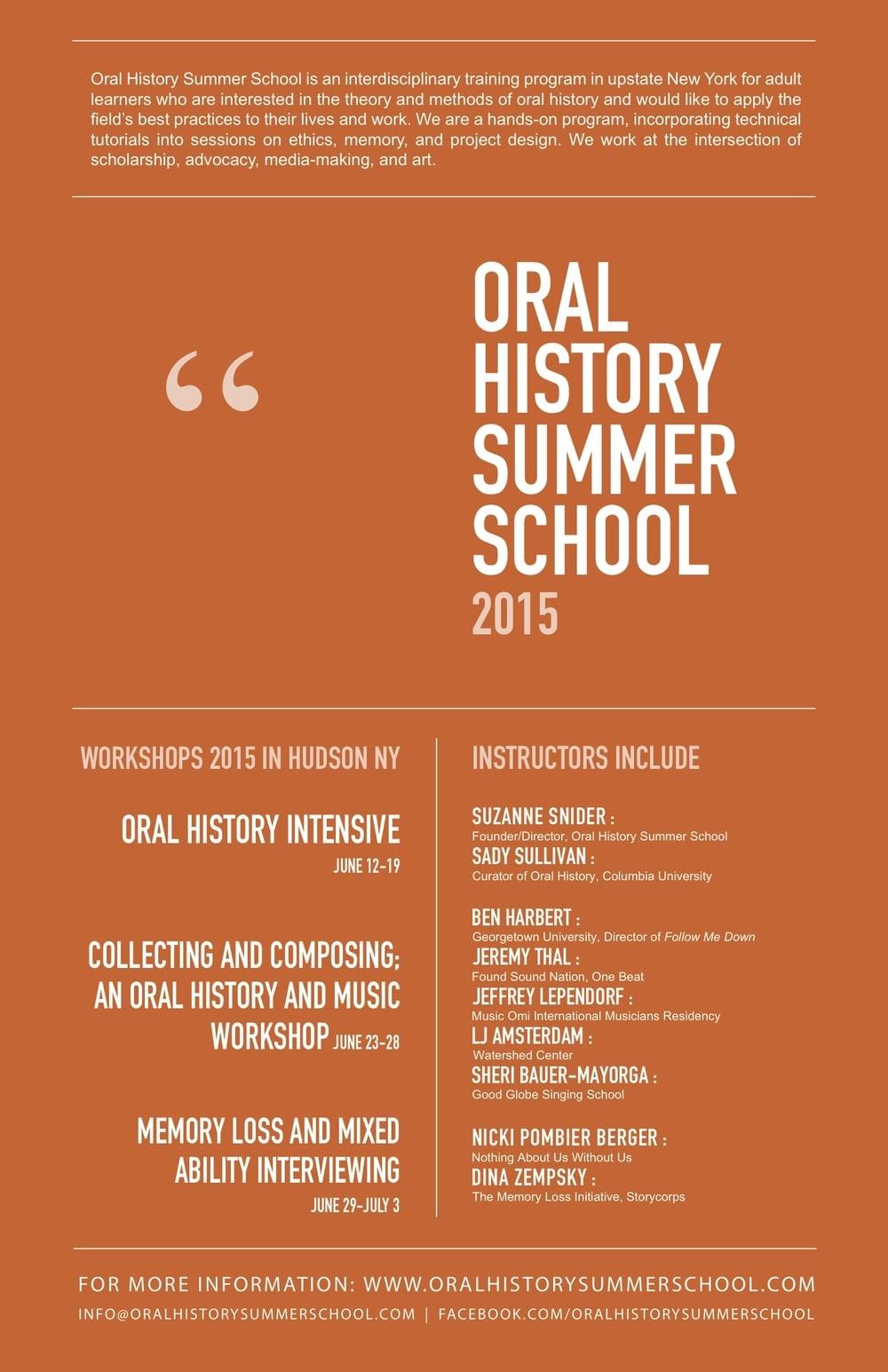 Oral History Summer School 2015