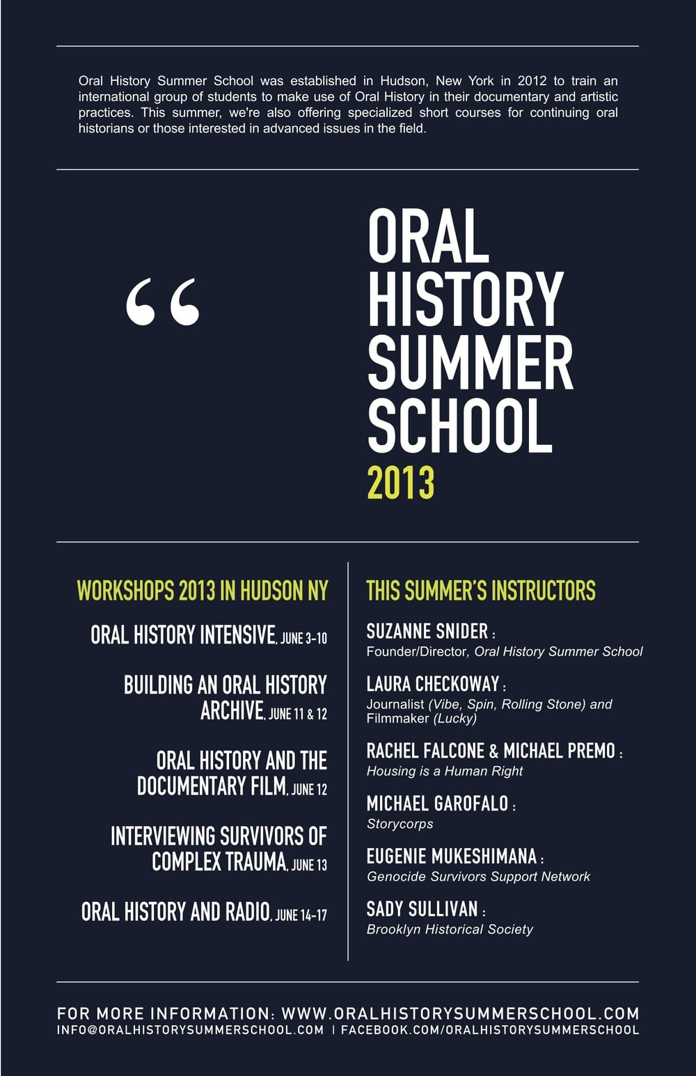 Oral History Summer School 2013