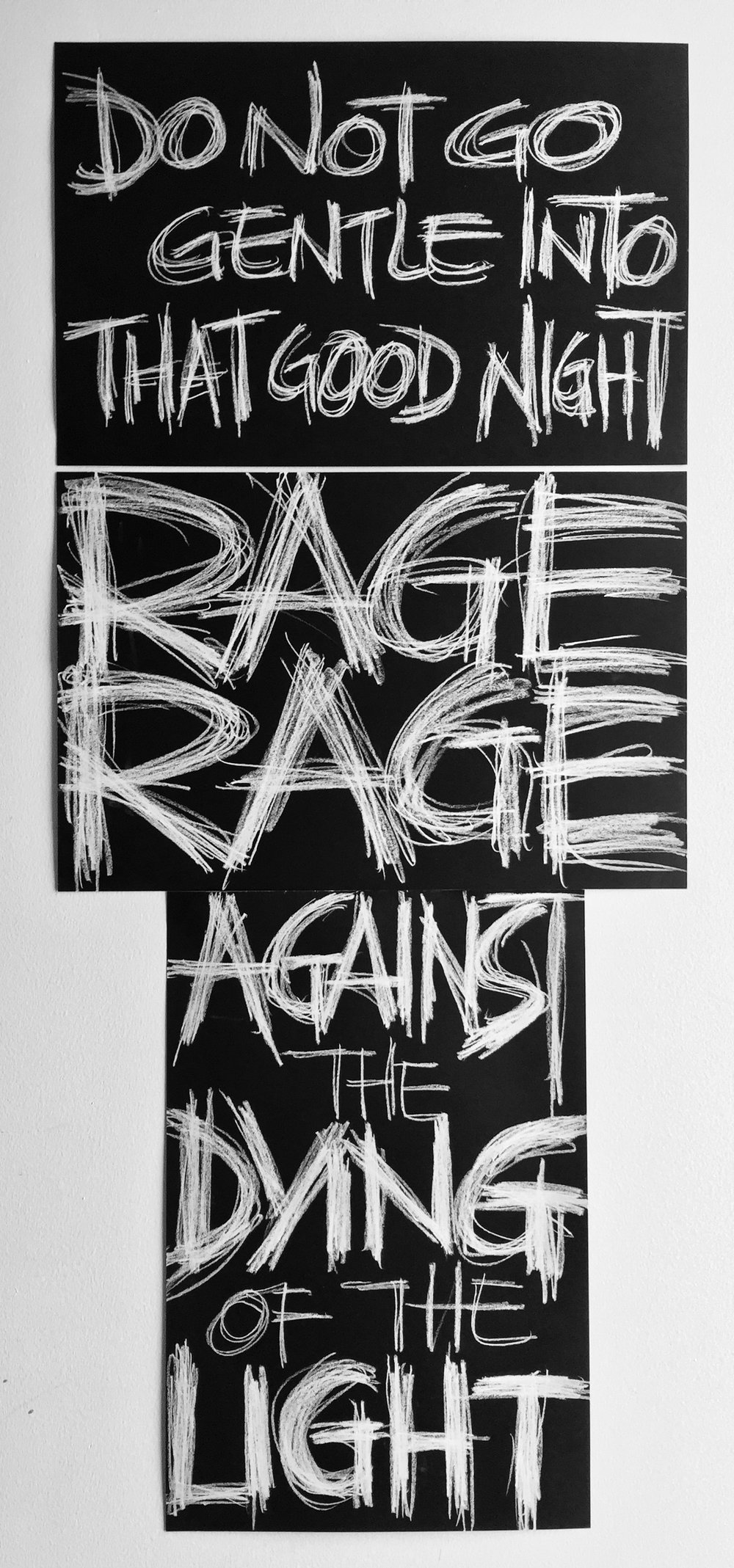 "Rage! Rage!   Charcoal on paper  42"" x 18"""