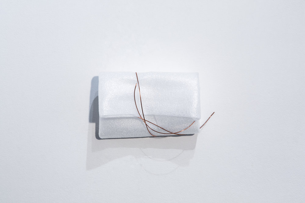 """A different kind of love    Used foam packaging, and copper wire  8"""" x 4 1/2"""" x 3 1/2"""""""