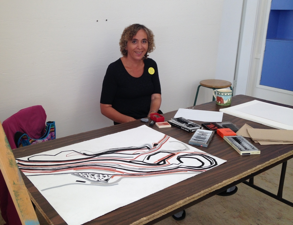 Tsilhqot'in artist and NAPAT Graduate, Diana Downey at the Artists' Project in Wells in 2015.
