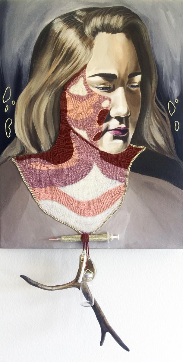 """Melissa Shaginoff (Chickaloon/Pyramid Lake), """"Kaggkaggos s'en zuul,"""" acrylic beads, insulin bottle, abalone, caribou antler, syringe, dentalium on canvas, 2016. Photo: Courtesy of SWAIA"""