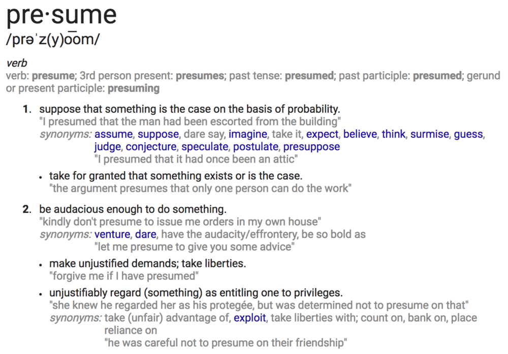 Define: presume  (from Google search)
