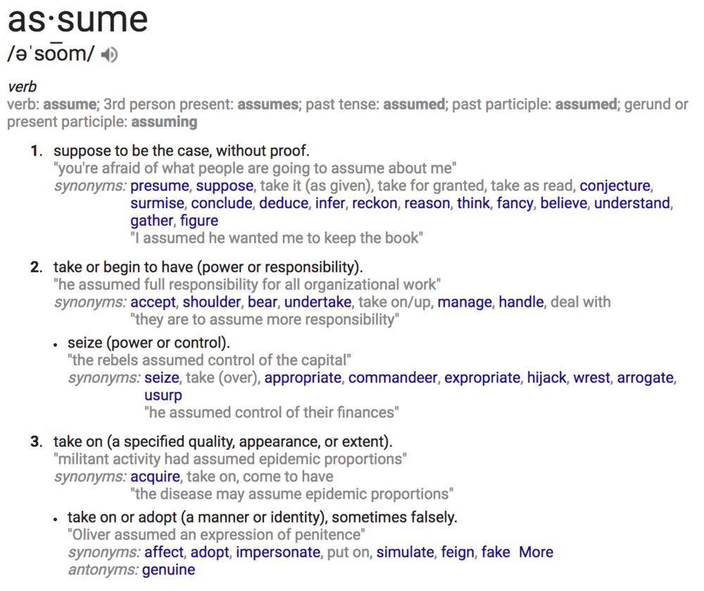 Define: assume  (from Google search)