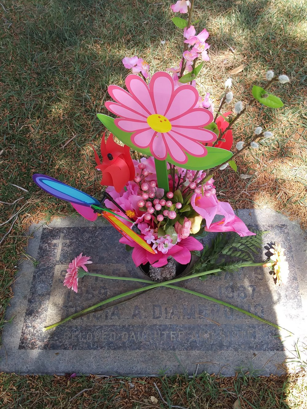 The grave stone of my best friend Tricia Diambrosia. In loving memory of you.   Picture taken: May 2017