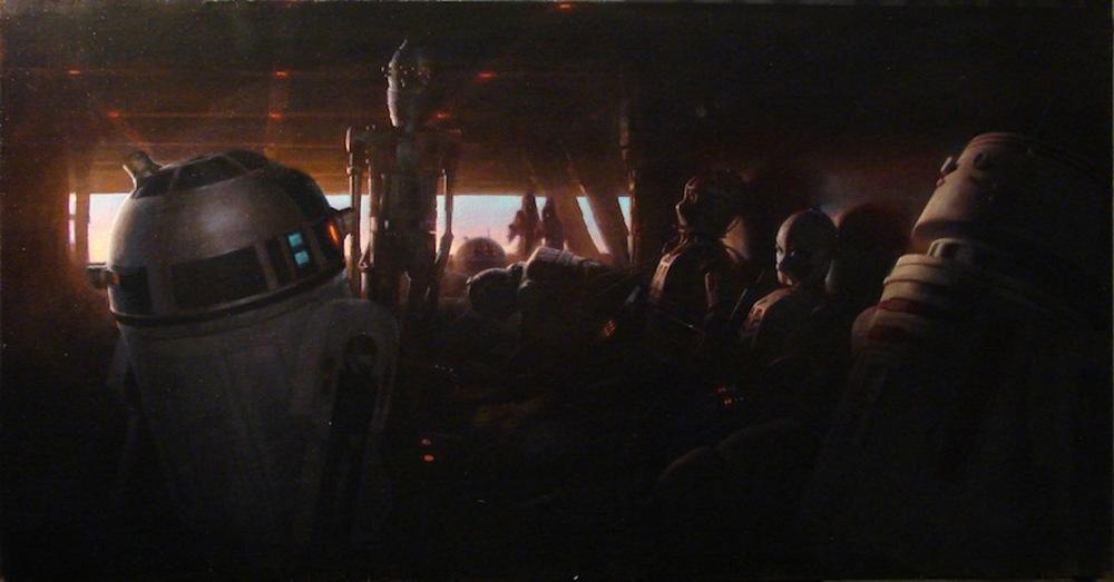 """""""Dusk on Tatooine"""" , 2010, oil on canvas, 22 x42"""""""