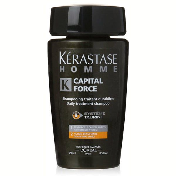 Kerastase Capital Force Shampoo: A densifying shampoo for men. Helps tone and consolidate hair and scalp to improve the look of sparse, thinning hair, forming an ideal environment for healthy hair growth.