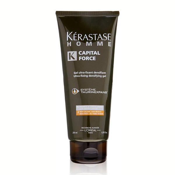 Kerastase Capital Force Gel: Ultra-fixing densifying gel for men. Extra strong yet flexible hold, dries quickly without residue or greasiness, and washes out easily.