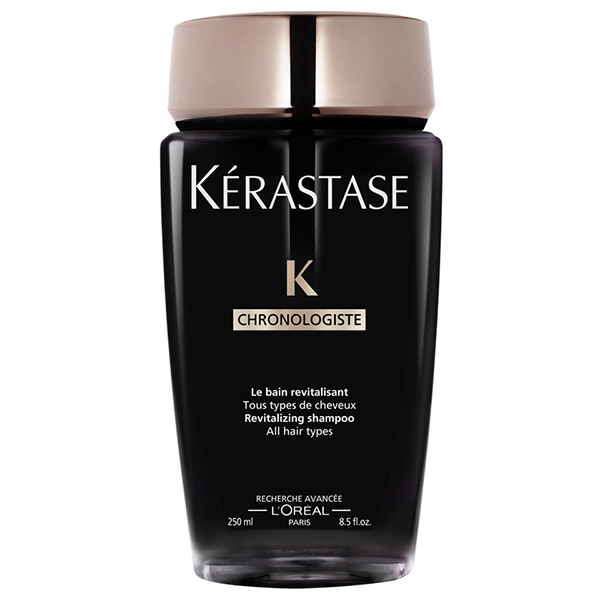 Kerastase Chronologiste Shampoo: Cleanses scalp impurities while revitalizing the hair from scalp to ends. Delivers smoothness, shine, and soft-to-the-touch results, and strengthens and regenerates the hair fiber.