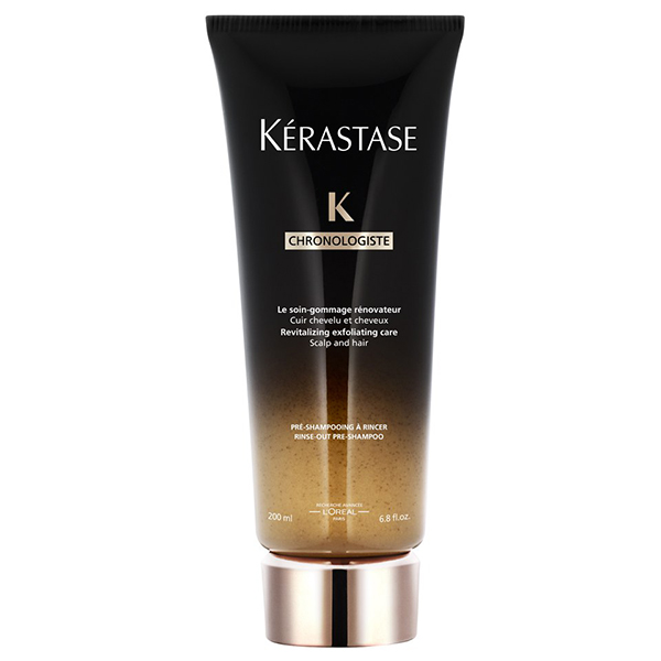 Kerastase Chronologiste The Gommage: An exfoliating pre-shampoo scalp treatment for all hair types. Purifies and stimulates the scalp and hair fiber through gentle exfoliation, and provides radiant shine and deep nourishment.