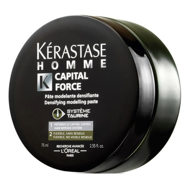Kerastase Capital Force Modeling Paste: Non-sticky paste will keep hair in place without turning follicles crispy. Fortified with a blend of amino acids and vitamins to fight against premature hair loss, making hair look thicker, fuller, and stronger.