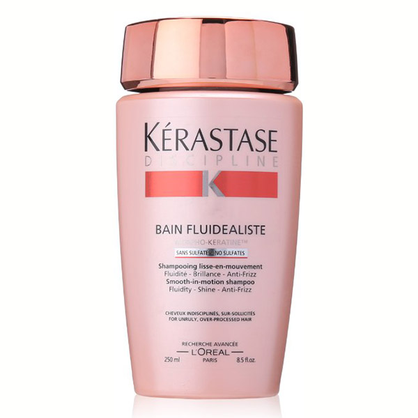 Kerastase Bain Fluidealiste: Smooth-in-motion shampoo to prevent frizzy hair. Gently cleanses while providing optimal nourishment without weight, and provides discipline and fluidity. For sensitized or color-treated hair.