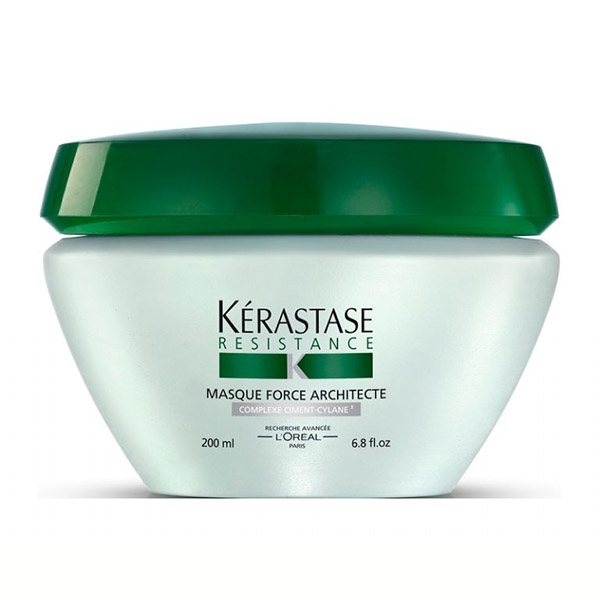 Kerastase Masque Force Architecte: Reconstructing masque for brittle, damaged hair. Provides instant detangling and lightweight conditioning, rebuilds and strengthens the hair fiber, and helps prevent breakage and split ends.
