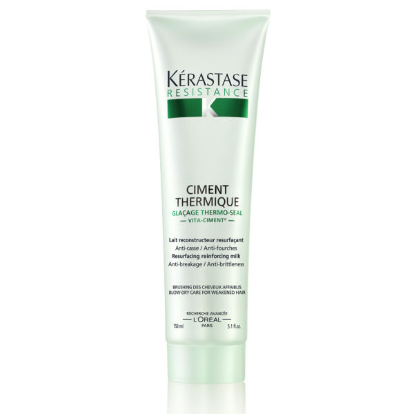 Kerastase Ciment Thermique: Fiber strengthening leave-in hair milk fortifies and protects weakened hair, leaving hair soft, smooth & shiny.