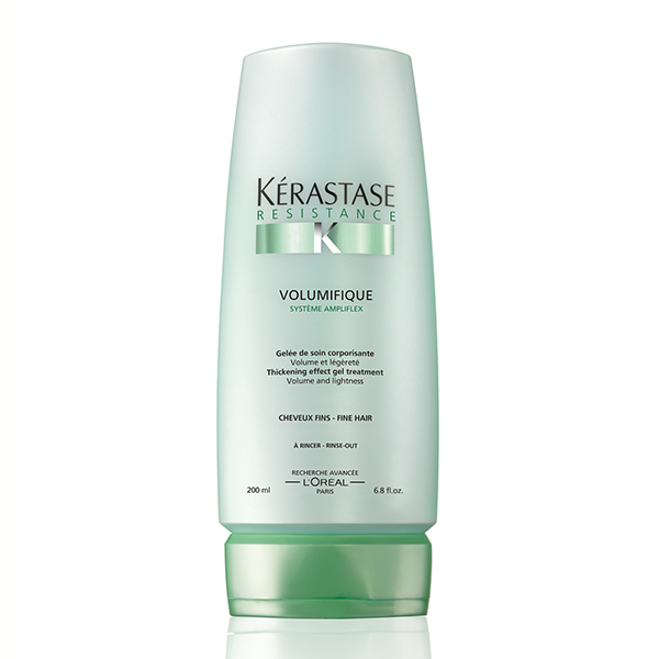 Kerastase Gelee Volumifique: Amplifying conditioner for volume and lightness. Conditions hair for soft touch, expands hair fiber for amplified volume, controls frizz, adds shine without weight. and improves manageability and long-lasting style.
