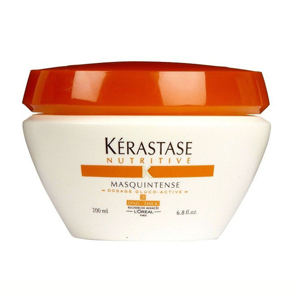 Kerastase Masquintense: Exceptionally concentrated nourishing treatment for dry and extremely sensitized, thick hair. Deeply penetrates the hair fiber  from mid-lengths to ends,  infuses weightless nutrition for hair suppleness, and is a long-lasting defense against the return of dryness.