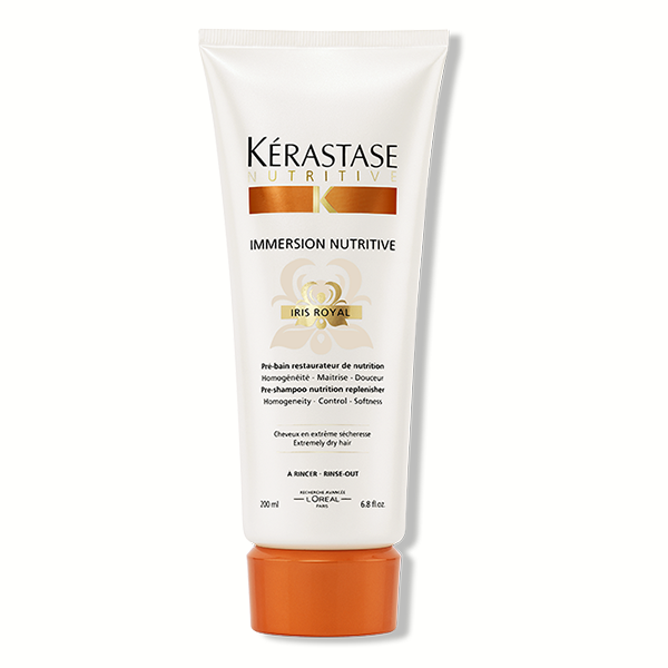 Kerastase Immersion Nutritive: Pre-shampoo nutrition replenisher for normal to extremely dry hair. Erases symptoms of dryness, amplifying nutritional power, and nourishes and perfects hair cuticle 'scales' on the surface.