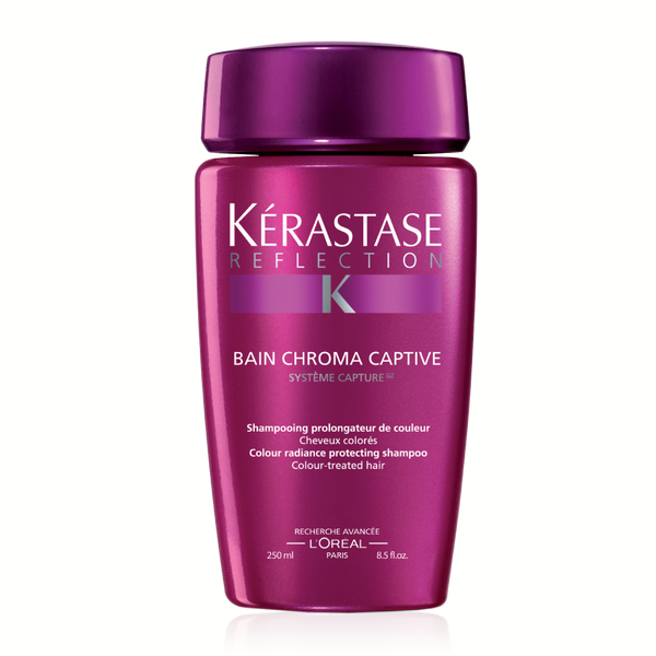 Kerastase Bain Chroma Captive: Sulfate-free protective shampoo for color-treated hair. Preserves color depth and shine, polishes the hair fiber and leaves it smooth for maximum light reflection and shine, protects against anti-oxidant aggressors and premature color fading, and provides UV protection.