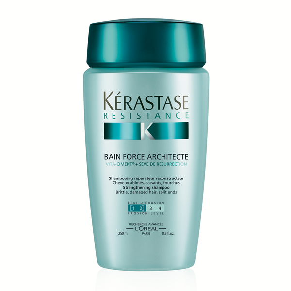 Kerastase Bain Force Architecte: Daily reconstructing shampoo for brittle, damaged hair. Each fiber is reconstructed, revitalized, shiny, and smooth. Helps prevent breakage and split ends.