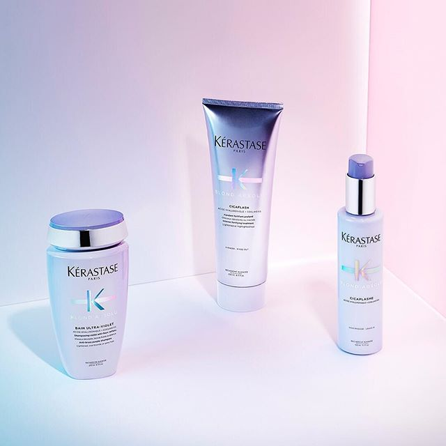 In need of care and neutralization? Use @kerastase_official Bain Ultra-Violet once a week until you reach your desired tone. Use Cicaflash Conditioner and Cicaplasme Heat Primer for moisturized and luminous hair. Stop by the salon to consult with your stylist for your personalized #BlondAbsolu hair care regimen. #YouDareWeCare #KerastaseUSA #kerigoldsalon #callingallblondes #blondesofbuckhead #buckheadhair #luxuryhairatlanta