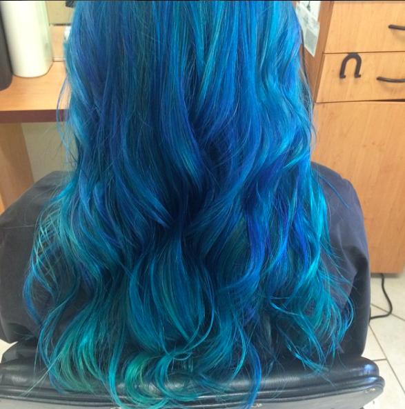 Maria Milanes Hair - Blue Rainbow / Mermaid Hair Color, Valencia