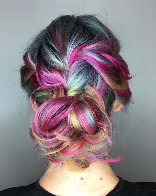 Maria Milanes Hair - Rainbow hair, Up-Do, Special Occasion, Guy Tang, Valencia, Los Angeles, Granada Hills