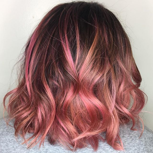 Maria Milanes Hair - Vivid Rose Gold Hair, Pink Hair, Lob, Valencia, Los Angeles, Granada Hills