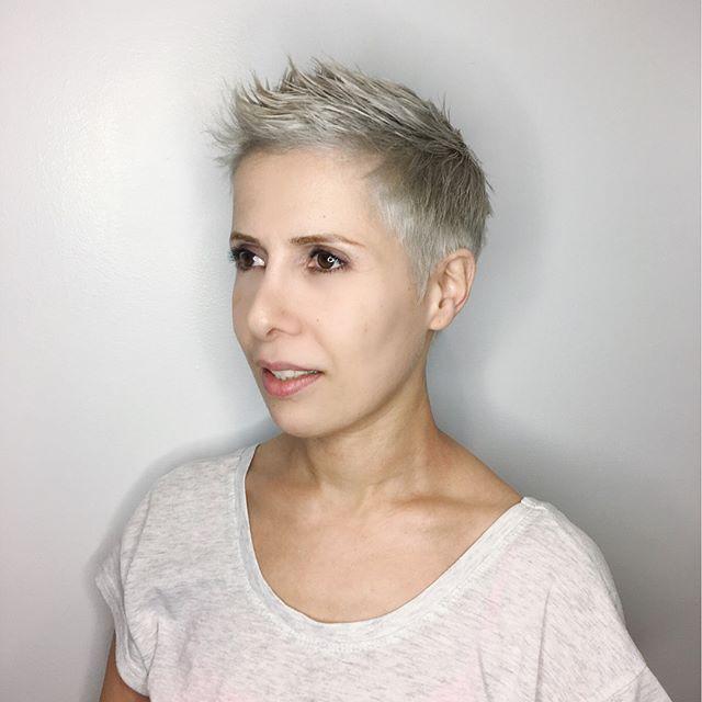 Maria Milanes Hair - Pixie Cut, Silver, Spikey, Valencia, Los Angeles, Granada Hills, Valencia