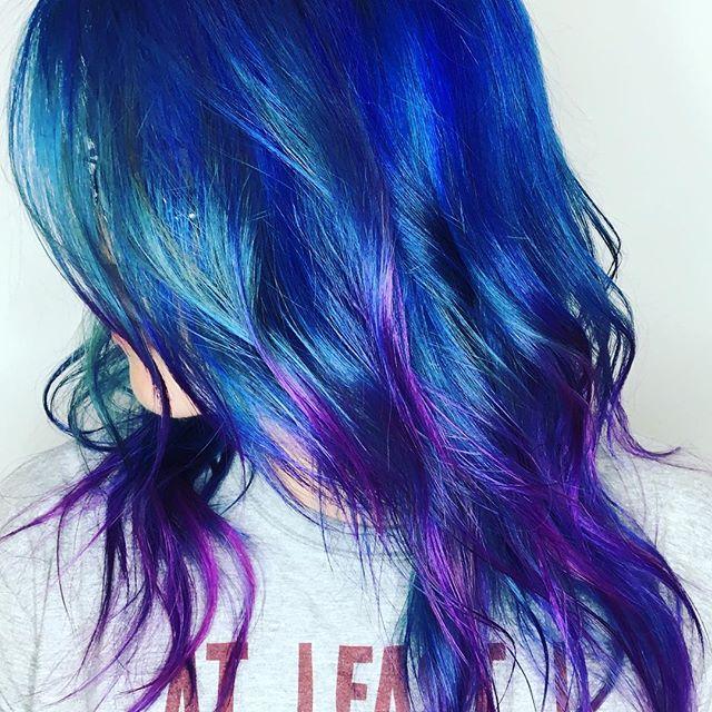 Maria Milanes Hair - Blue Hair, Mermaid Hair, Rainbow Hair, Rasberry Blues, Valencia