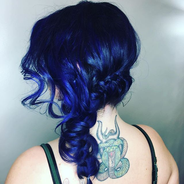Maria Milanes Hair - Purple Hair, French Braids, Vivid Hair, Unicorn Hair, Up-Do, Valencia, Los Angeles, Granada Hills