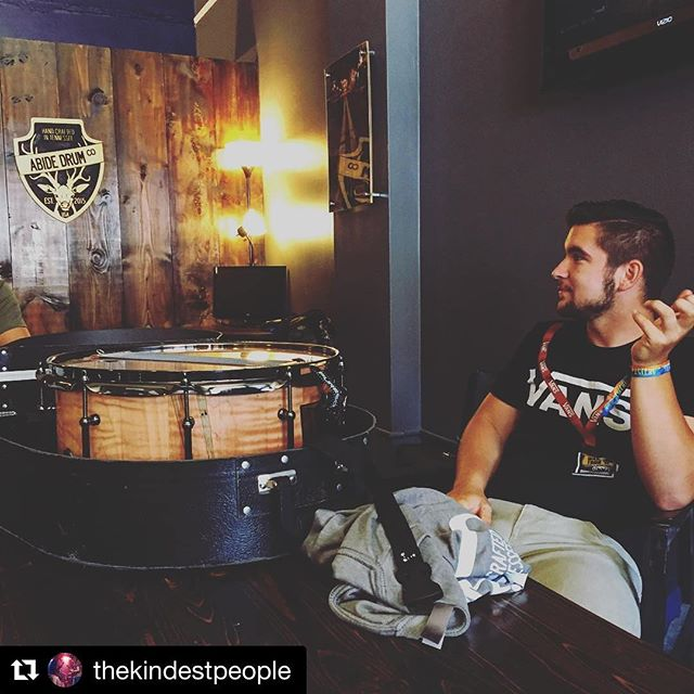 We're stoked to hear @cgefellers and his new spalted ambrosia maple Abide snare at Rhythm and Roots today! Check out @thekindestpeople  at their set today! ・・・ @cgefellers at the @abidedrumco with his brand new custom snare drum. It'll be making it's debut at 1pm at Machiavelli's! Be there! #music #drums #abidedrumco #rhythmandroots #thekindestpeople