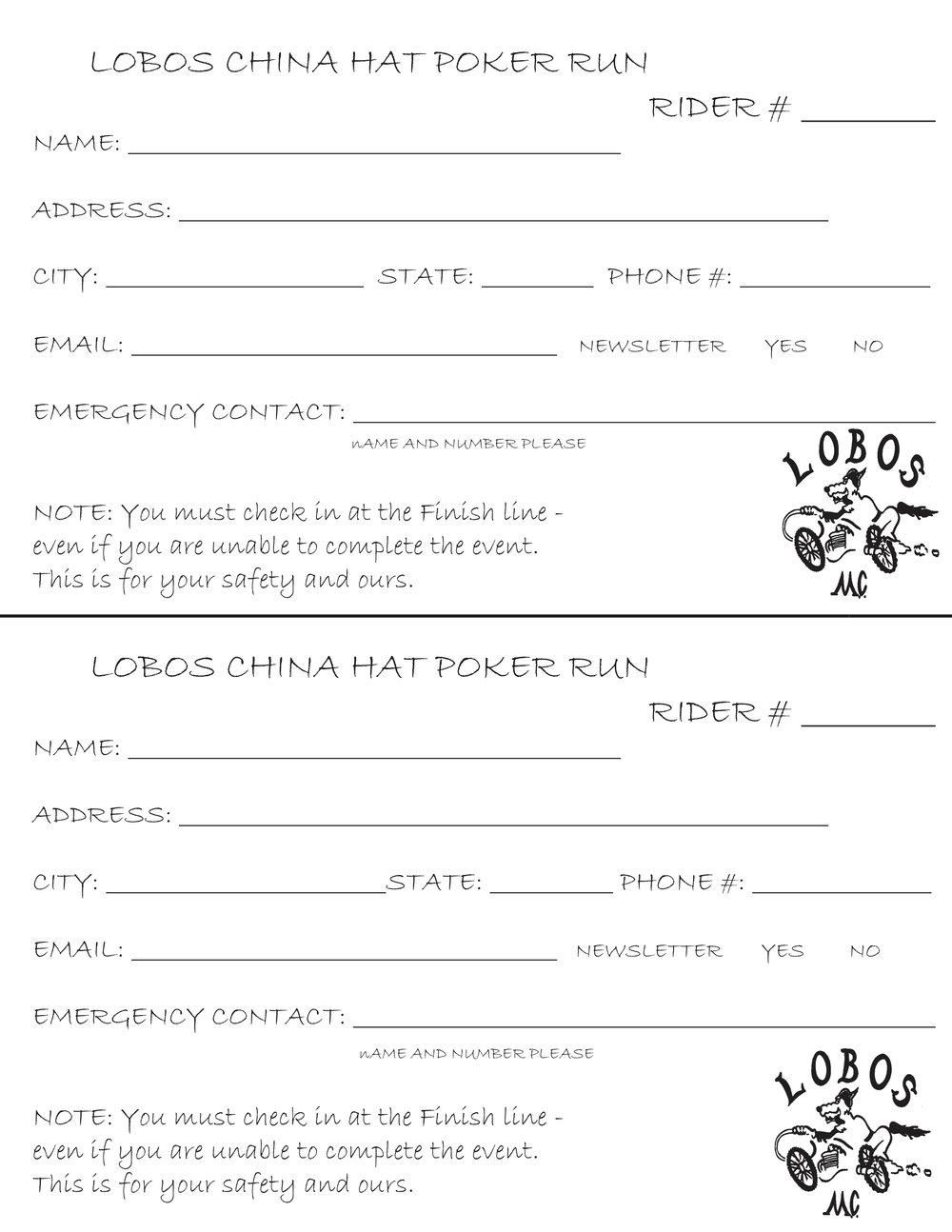 Printable Signup Form