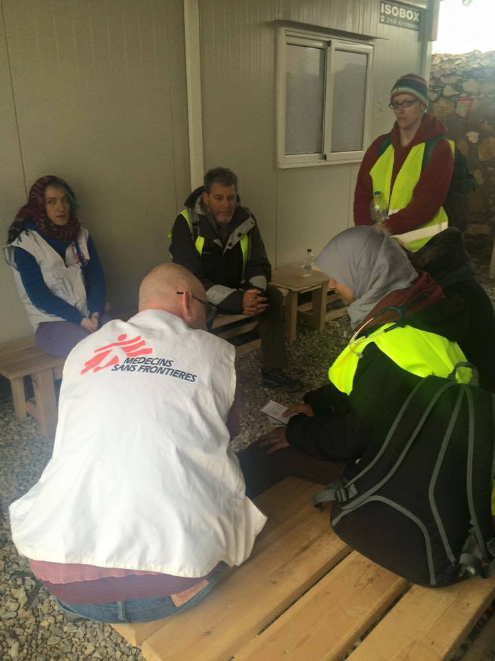 Volunteer doctors from RefuAid during handover with MSF, Leros 2015.