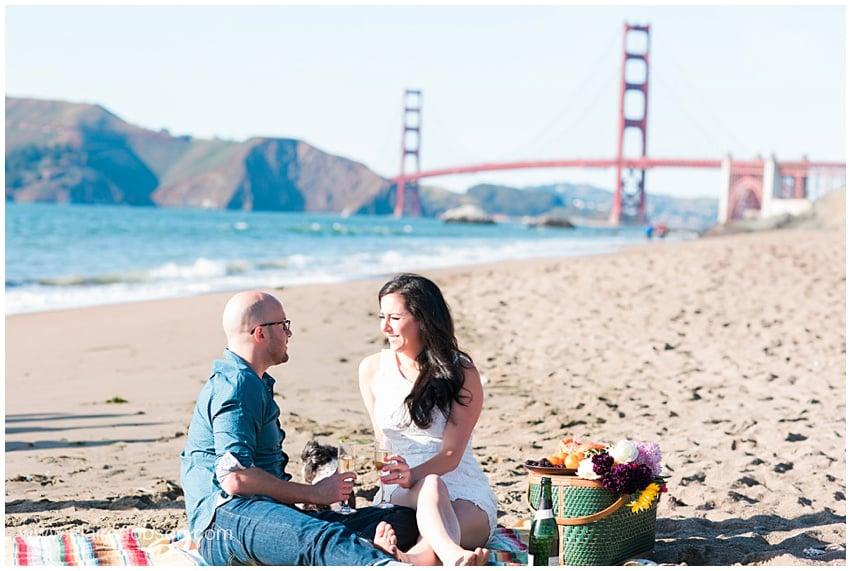 San Francisco film wedding photographer at baker beach