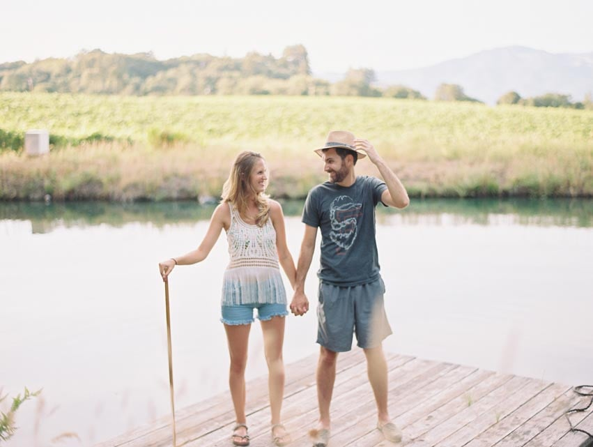 Film out doors engagement photography