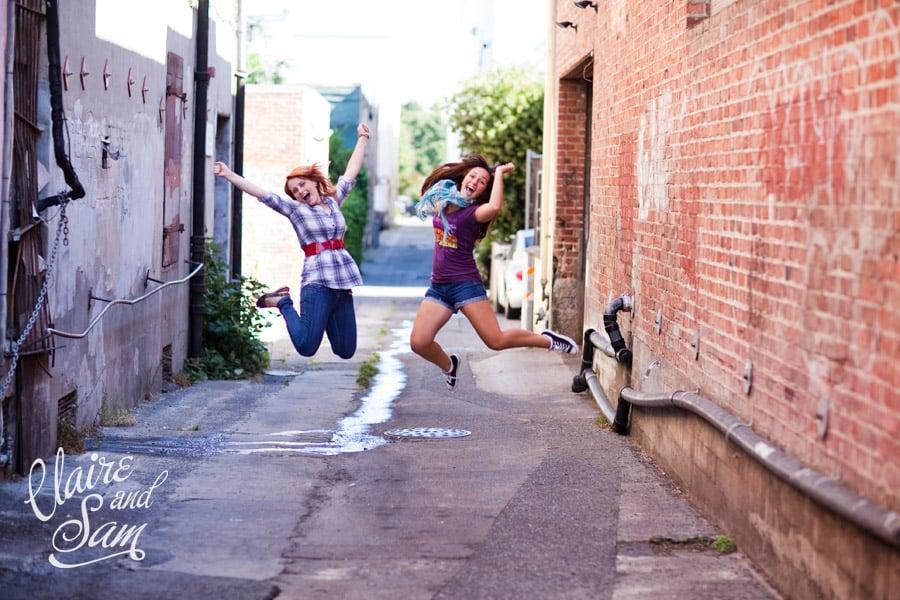 Senior girls in petaluma alley way