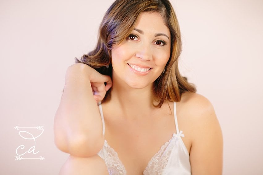 Bride's boudoir pictures before she is getting married