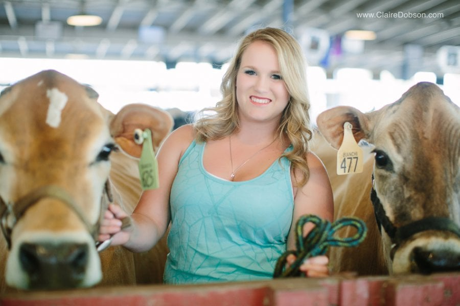 High school Senior with her cows