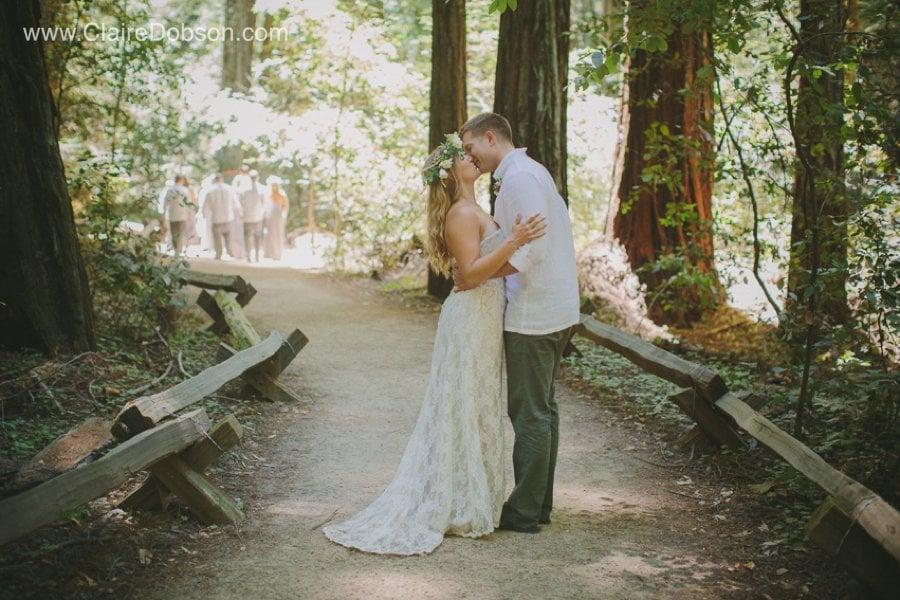 Bride and Groom in redwoods