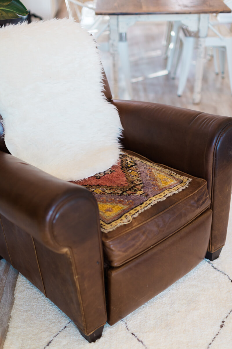 arm chair in living room after makeover
