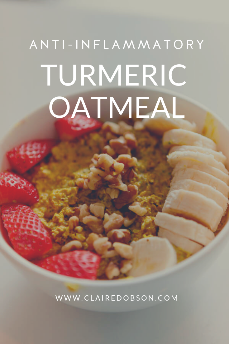 Easy 5 min turmeric oatmeal for your anti-inflammatory diet the perfect way to start your day. #paleo #whole30 #turmeric