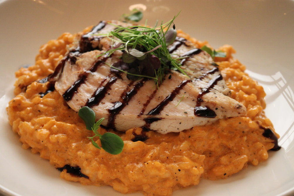Pink Risotto with Grilled Chicken