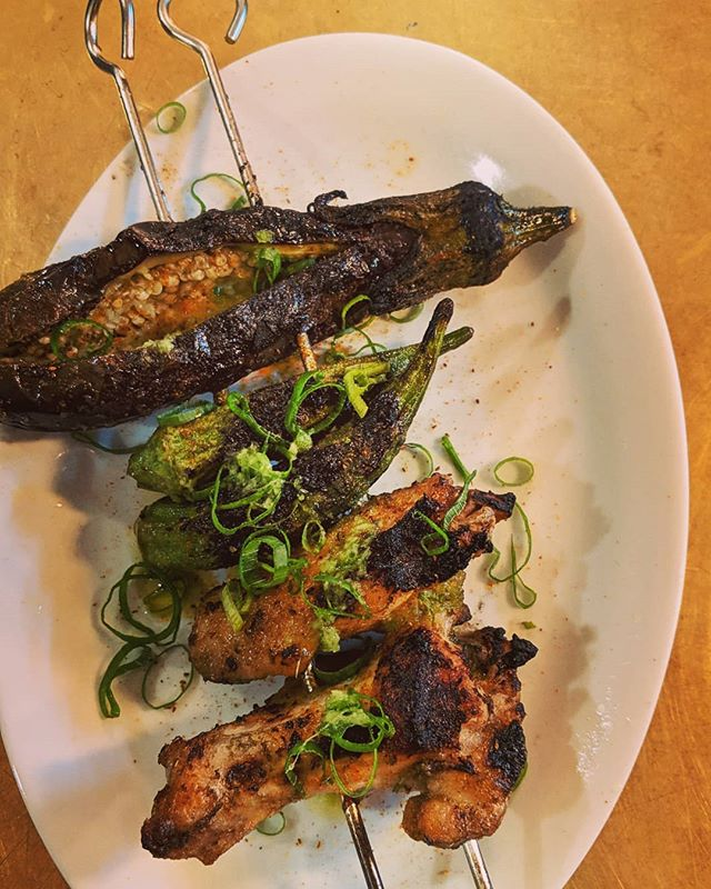 Skewer - chicken wing, okra, Japanese eggplant, ginger & shallot oil, bay seasoning . . . . #goodfoodau #goodfood #sydneyrestaurants #sydneyfood #innerwestsydney #balmain