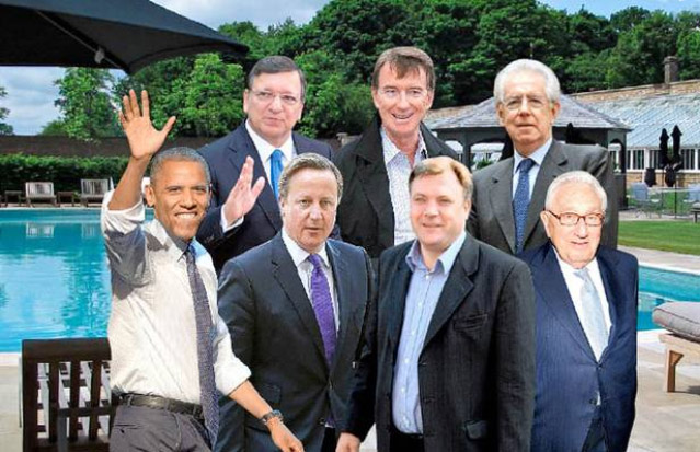 Pool party: from left, attendees could include Barack Obama, Jose Manuel Barroso, David Cameron, Peter Mandelson, Ed Balls, Mario Monti and Henry Kissinger