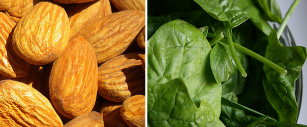 Magnesium-rich almonds and spinach.