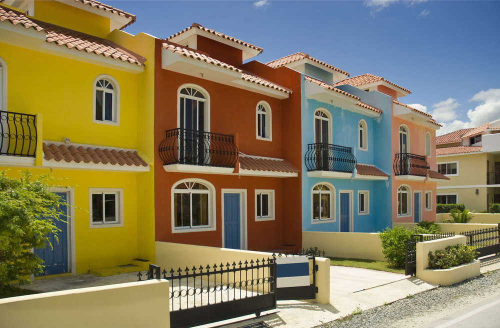 A truly incredible row of houses in the Dominican Republic.